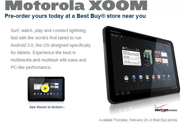Motorola Xoom in-store pre-order
