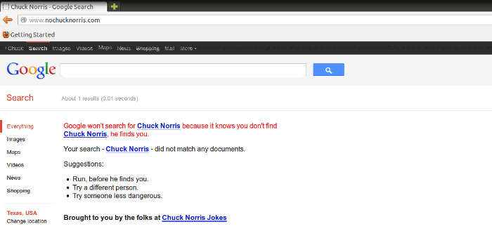 Google can't find Chuck Norris